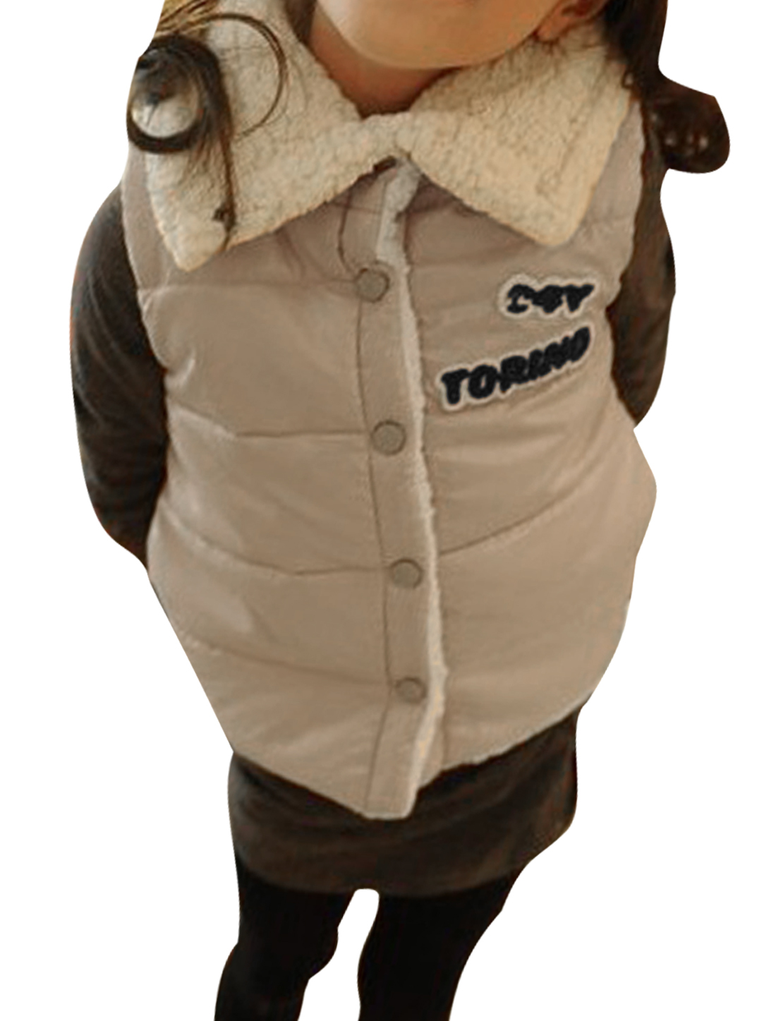 Single-Breasted Snap Button Front Khaki Plush Padded Vest for Kids 10