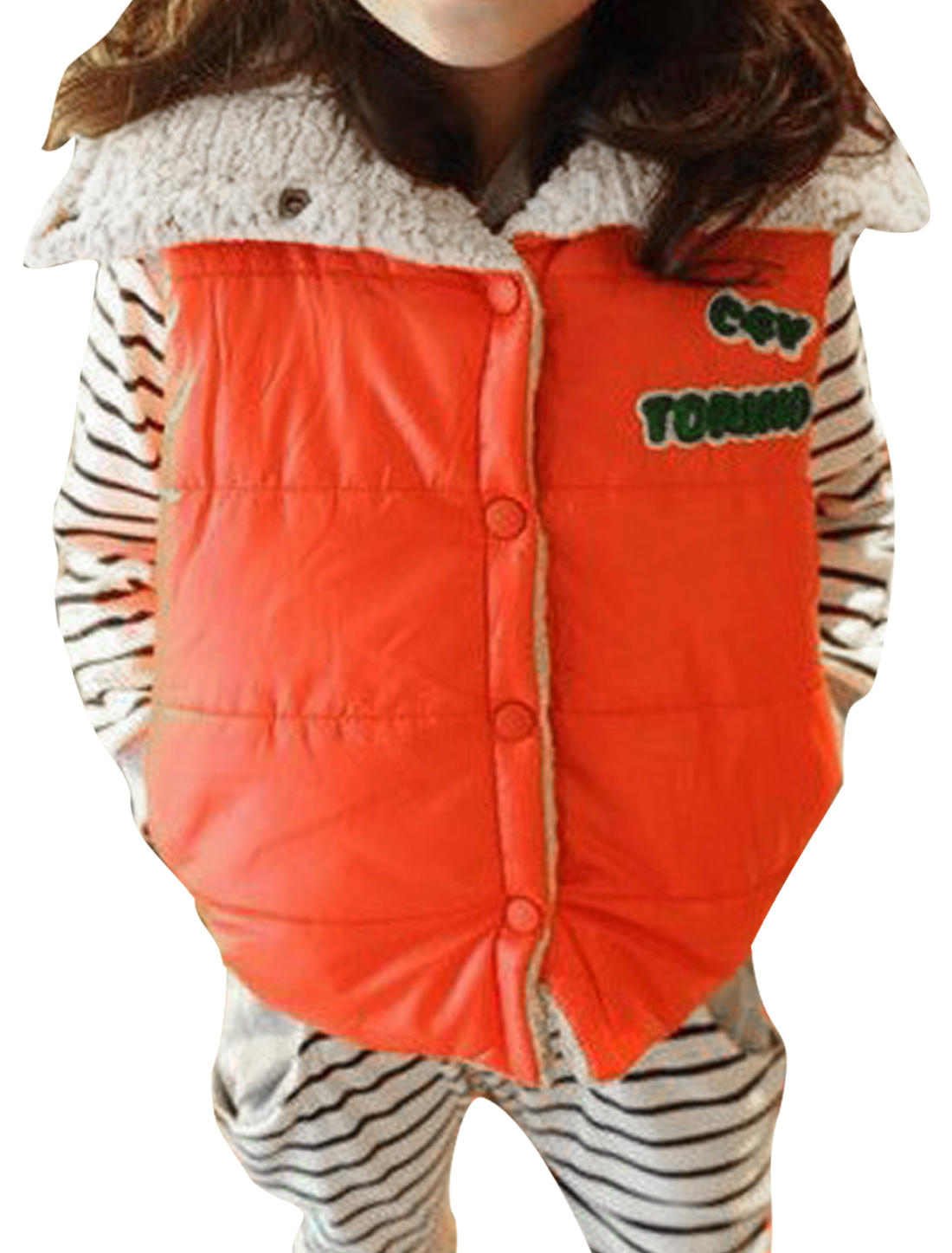 Children Cute Letters Panel Decor Button Down Orange Padded Vest 8