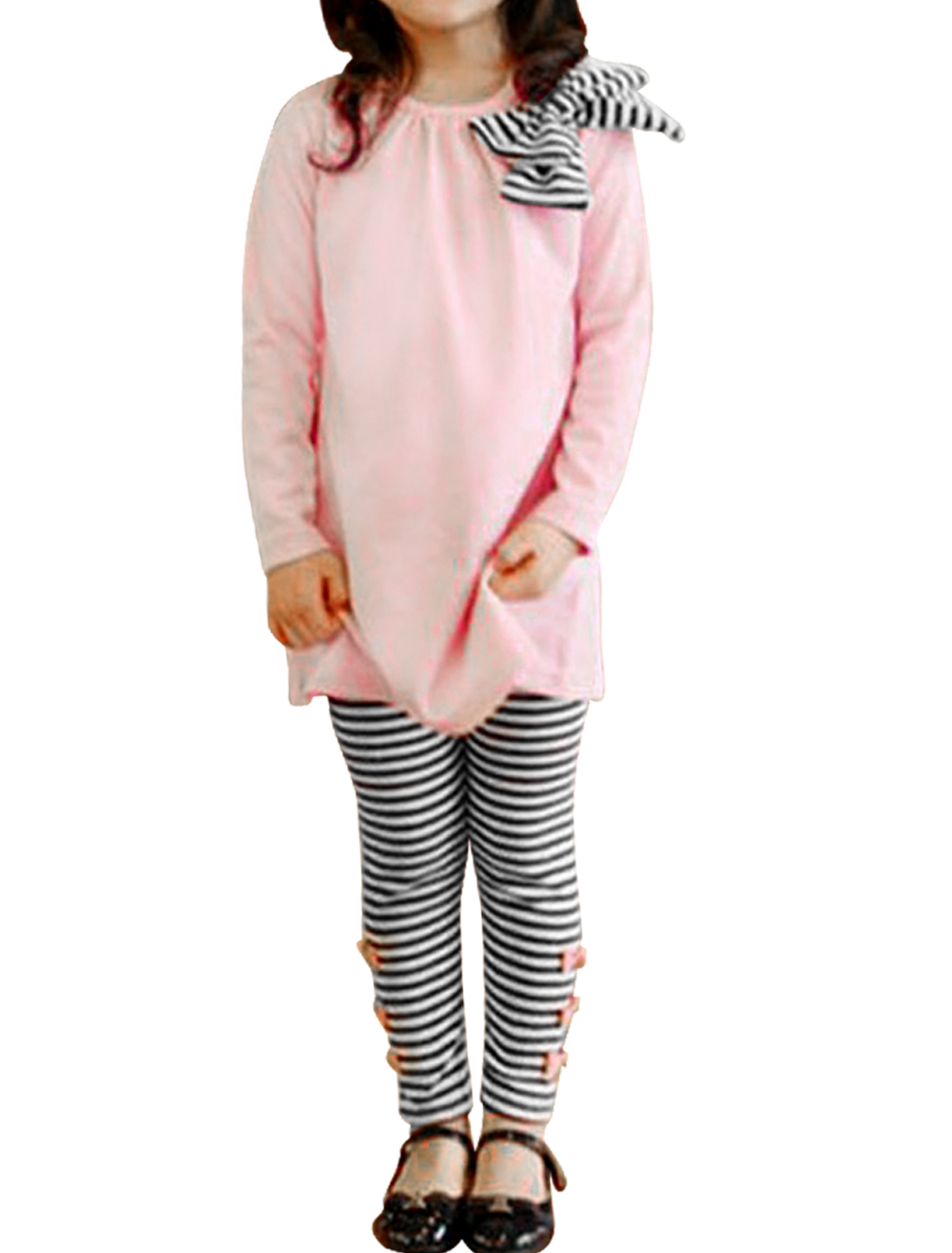 Girls Pullover Bowknot Shirt & Stripes Pants Pink Black 3T
