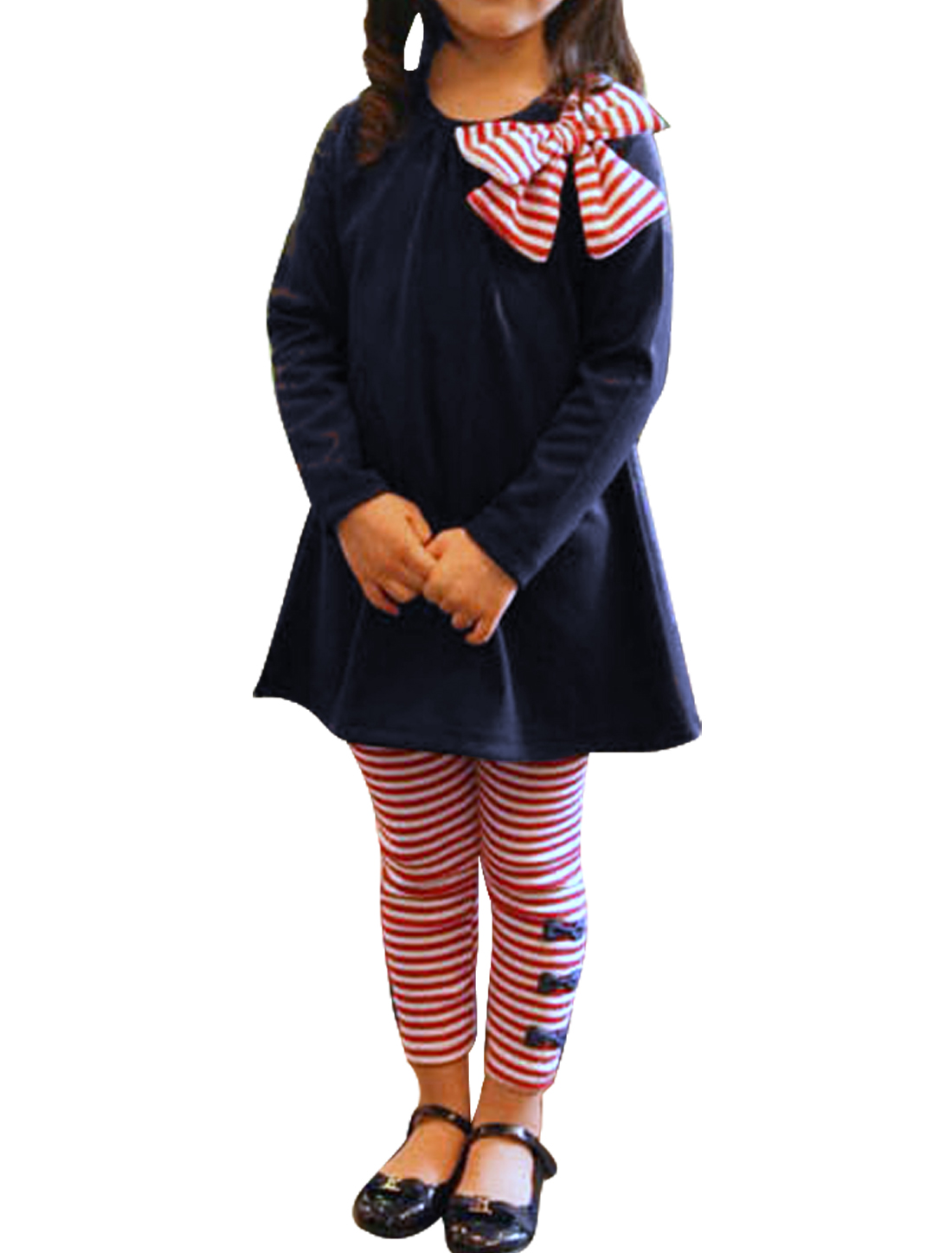 Girls Round Neck Shirt & Stripes Fall Wearing Pants Navy Blue Red 4T