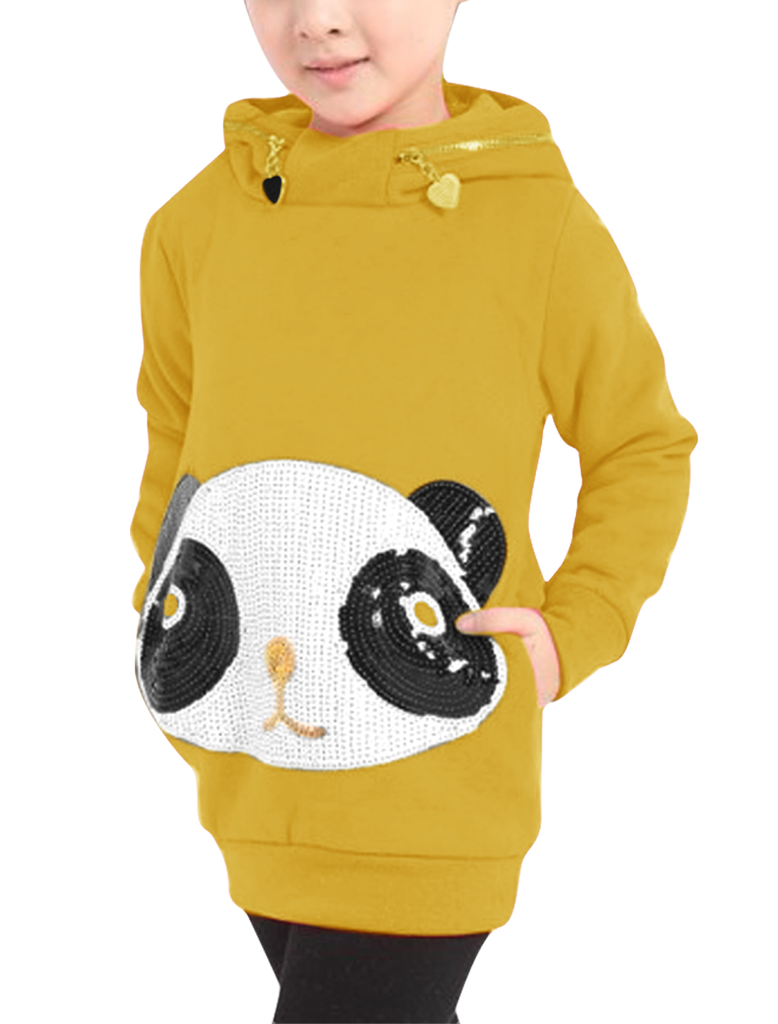 Girls Cartoon Panda Decor Hoodies Yellow 5