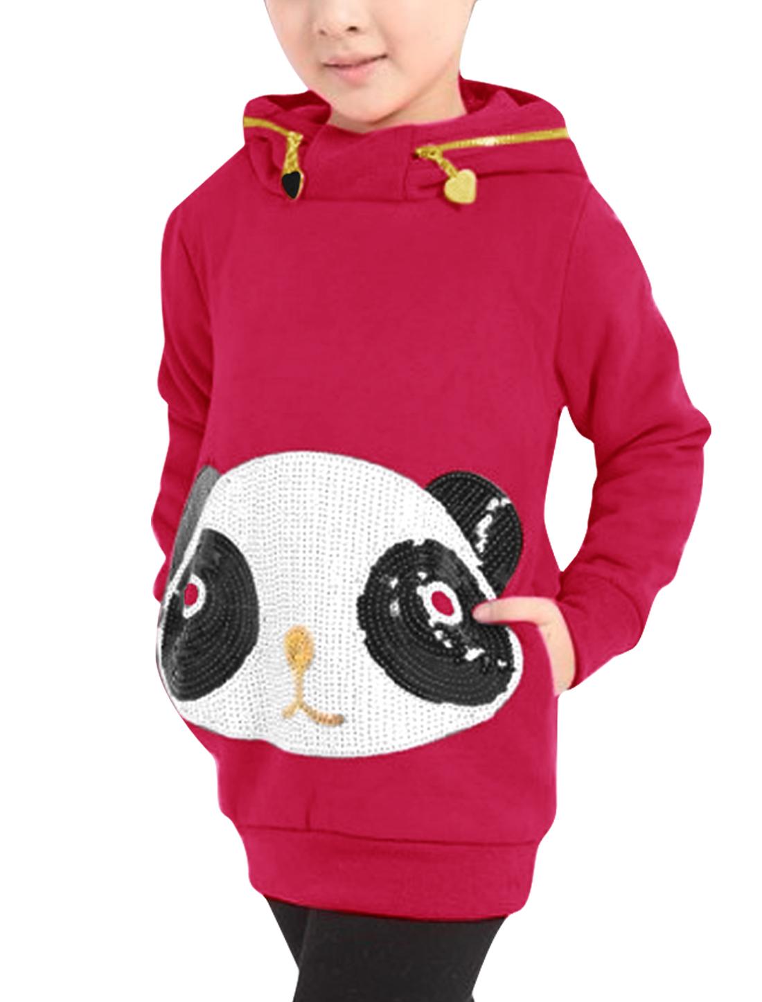 Girls Panda Pattern Pullover Warm Hoodies Fuchsia 6