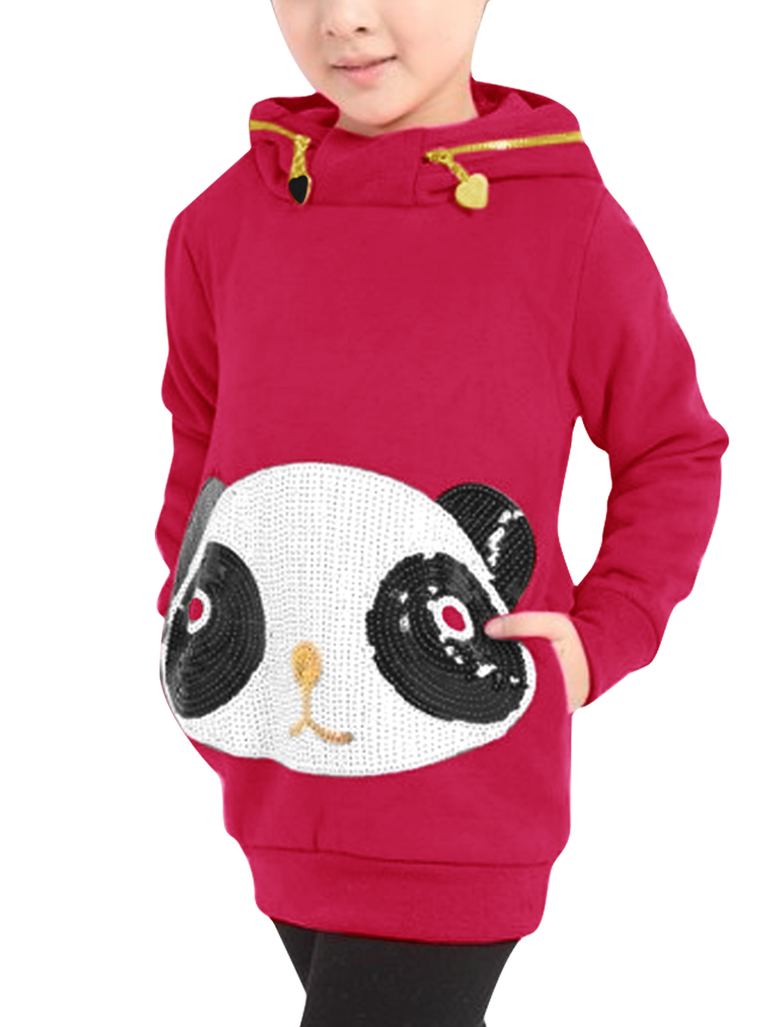 Girls Long Sleeve Side Pockets Panda Hoodies Fuchsia 6X