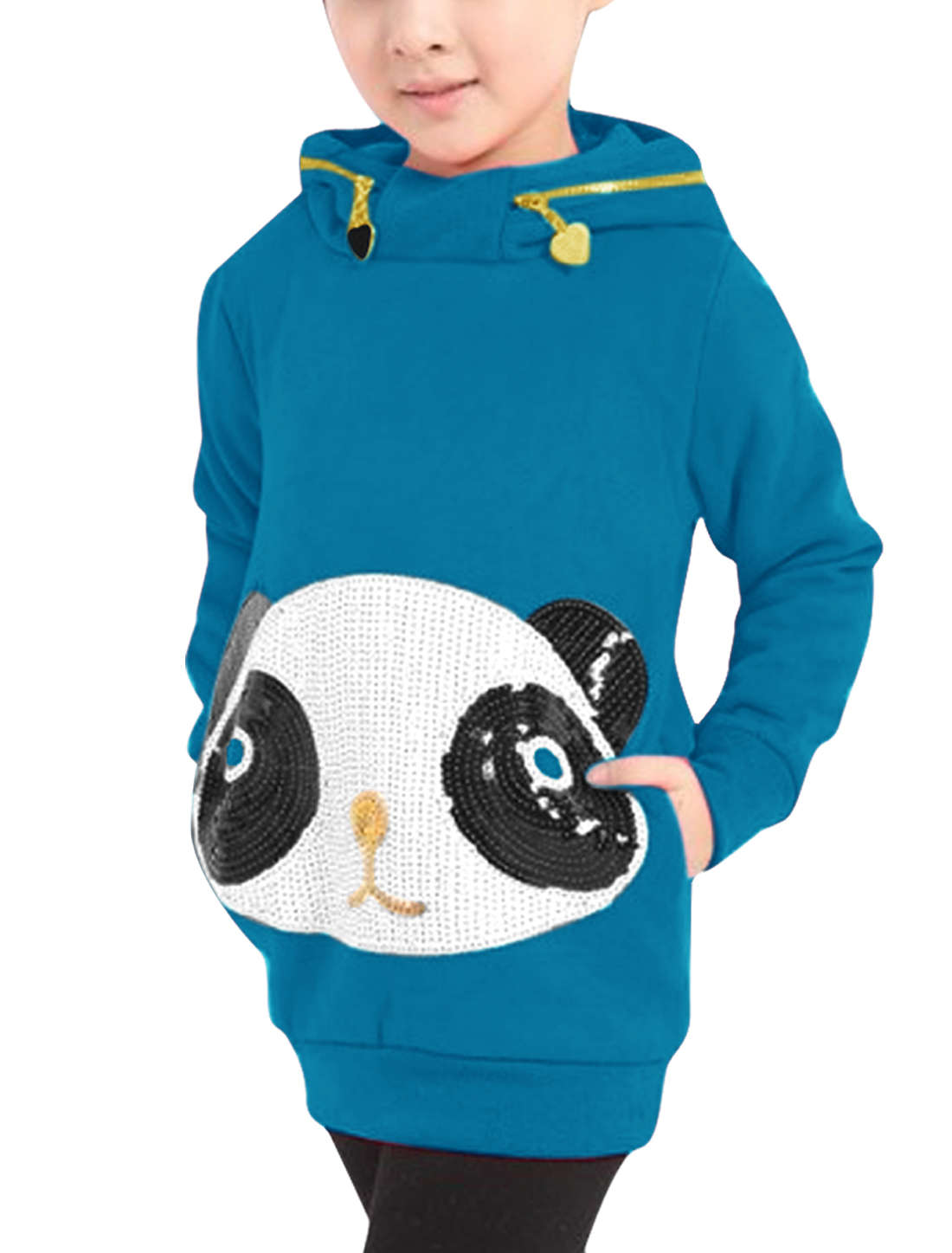 Girls Pullover Pockets Autumn Panda Hoodies Turquoise 5