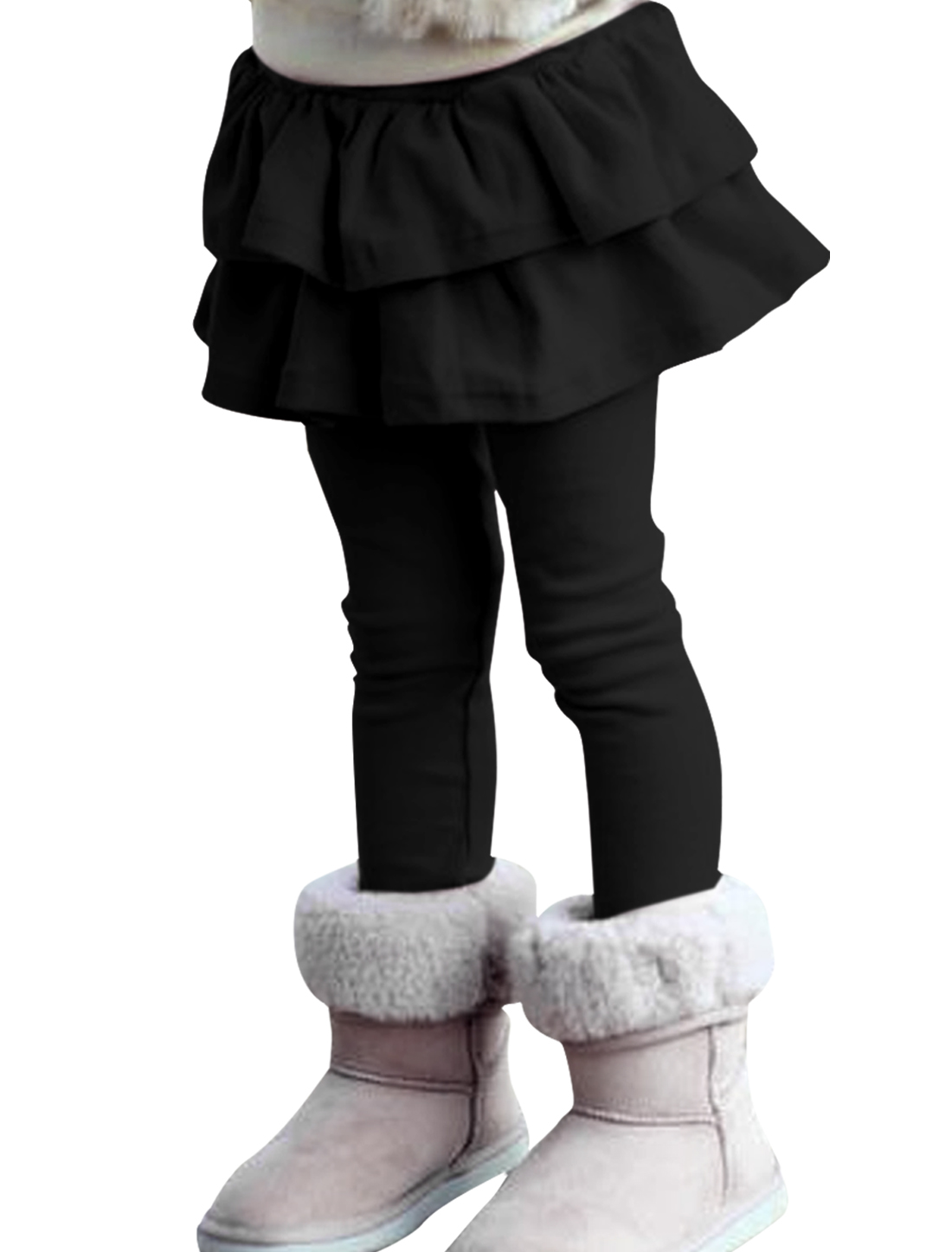 Girls Ruffled Detail Layered Sweet Pants Black 5