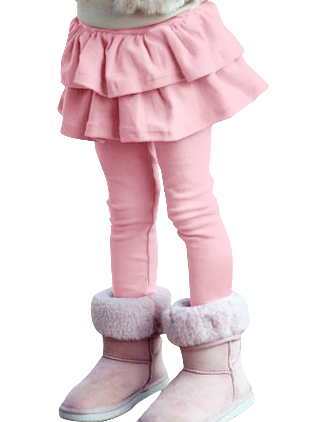 Girls Flounced Hem Embellished Sweet Pants Pink 4T