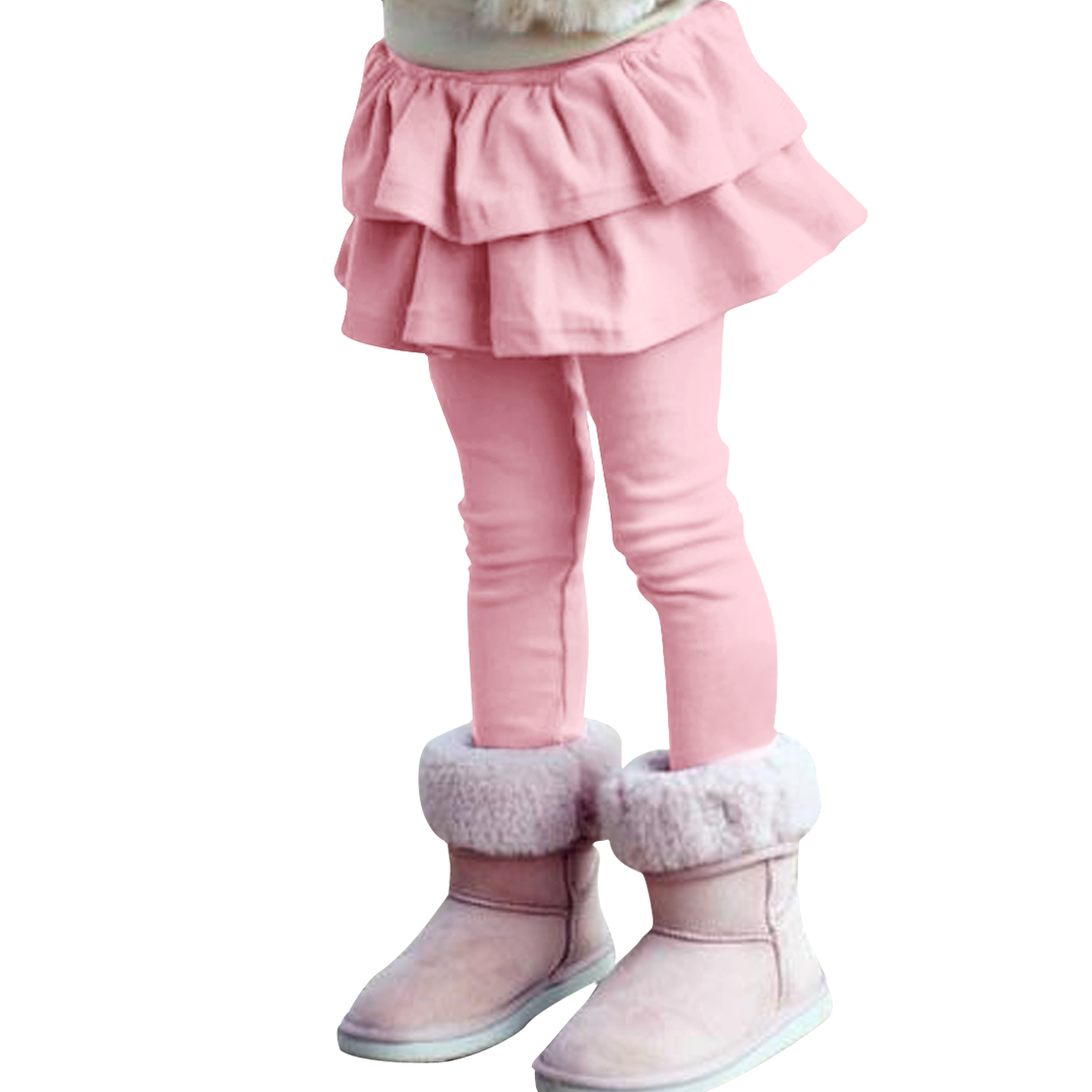 Girls High Rise Ruffled Soft Pants Pink 6X