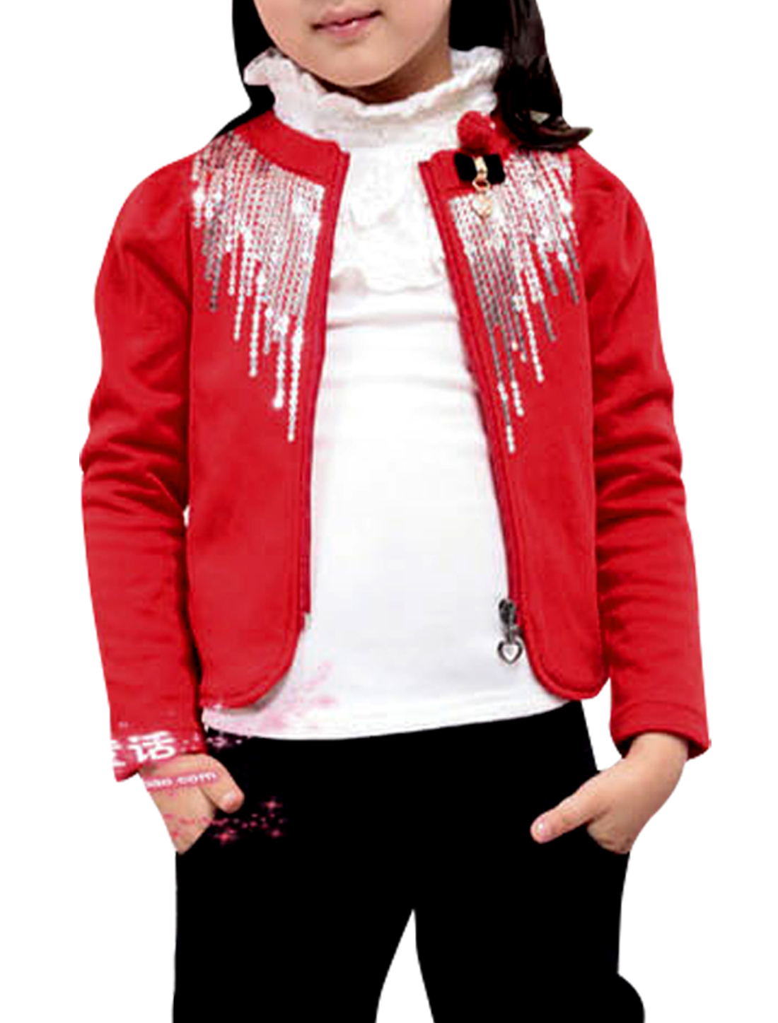 Girls Long Puff Sleeve Zip-Up Closure Design Sequined Front Red Coat 4