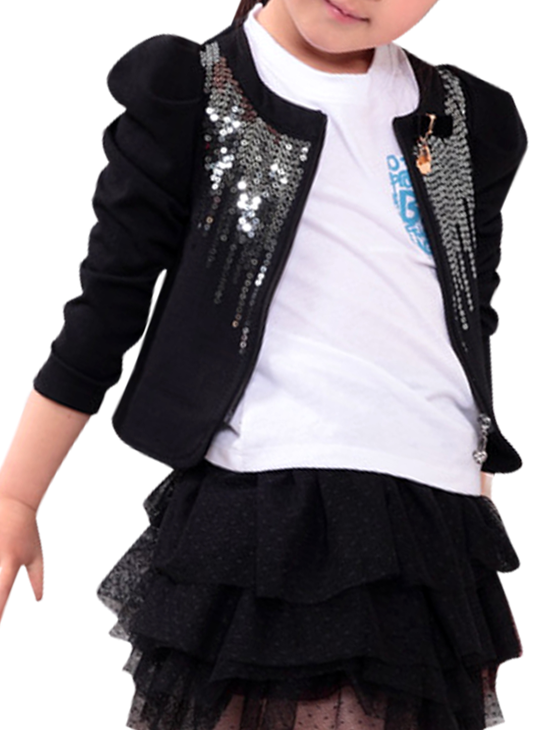 Girls Chic Bowknot Brooch Decor Sequined Front Design Black Coat 5