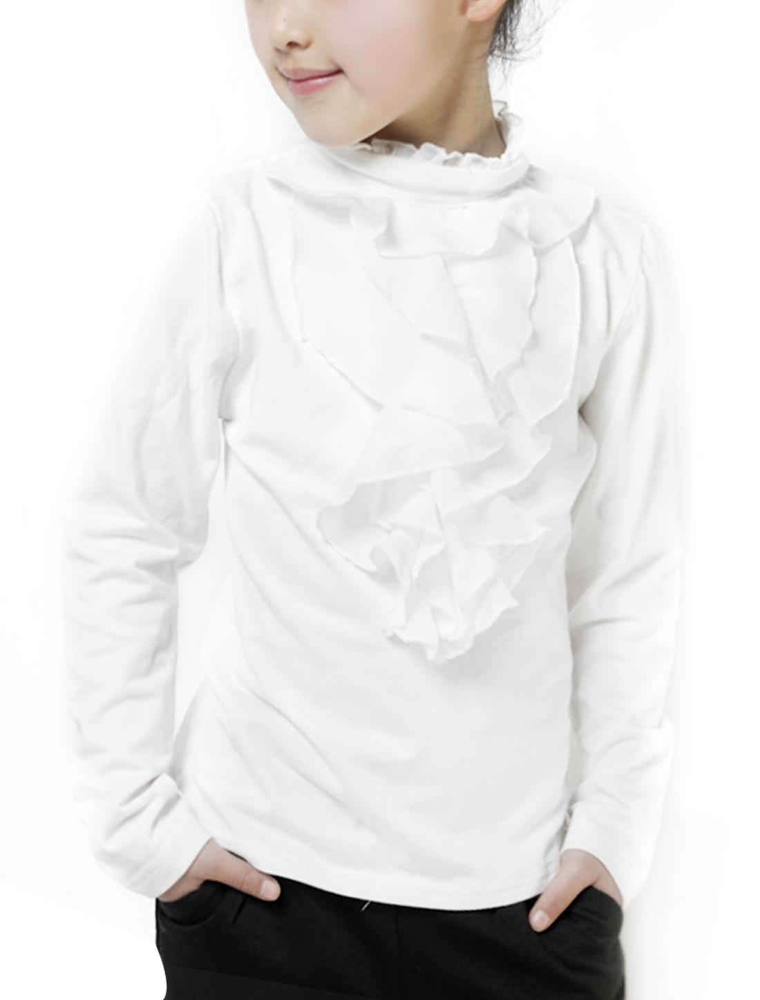 Girls Mock Neck Ruffled Detail Top Shirt White 3T