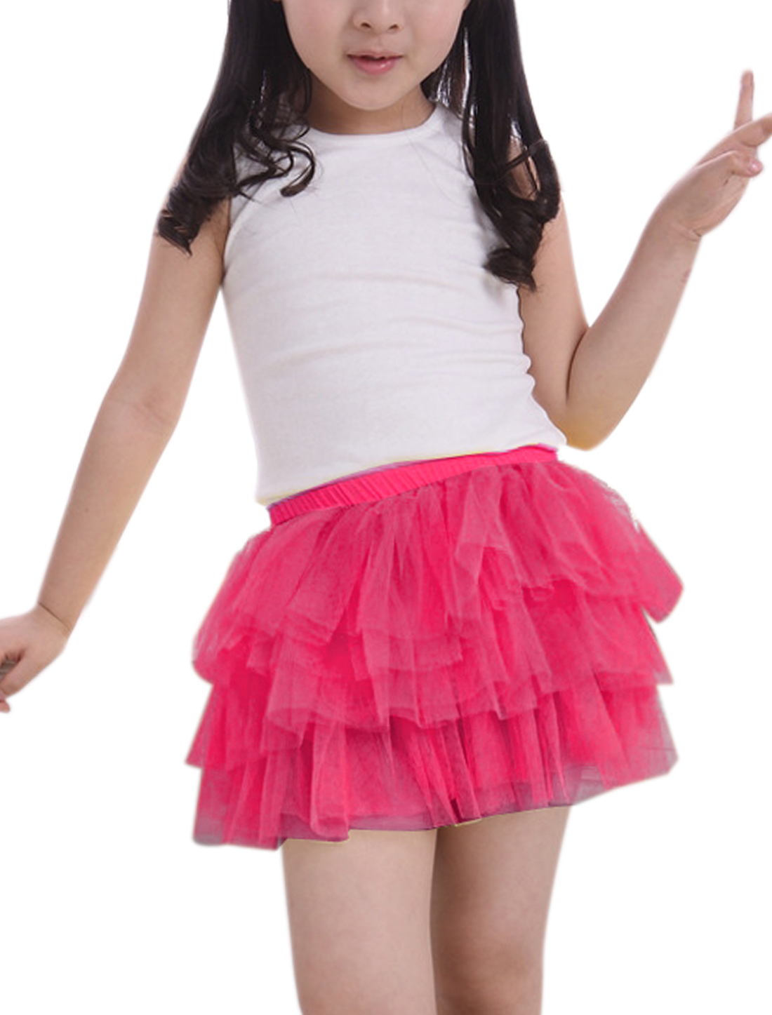 Girls Elastic Waist Mesh Panel Tiered A Line Skirt Fuchsia 2T