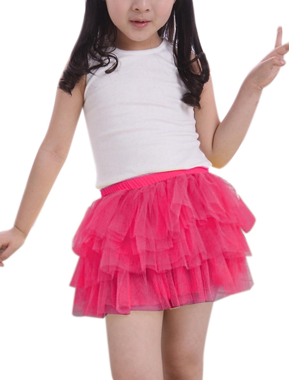 Girls Elastic Waist Mesh Panel Tiered A Line Skirt Fuchsia 3T