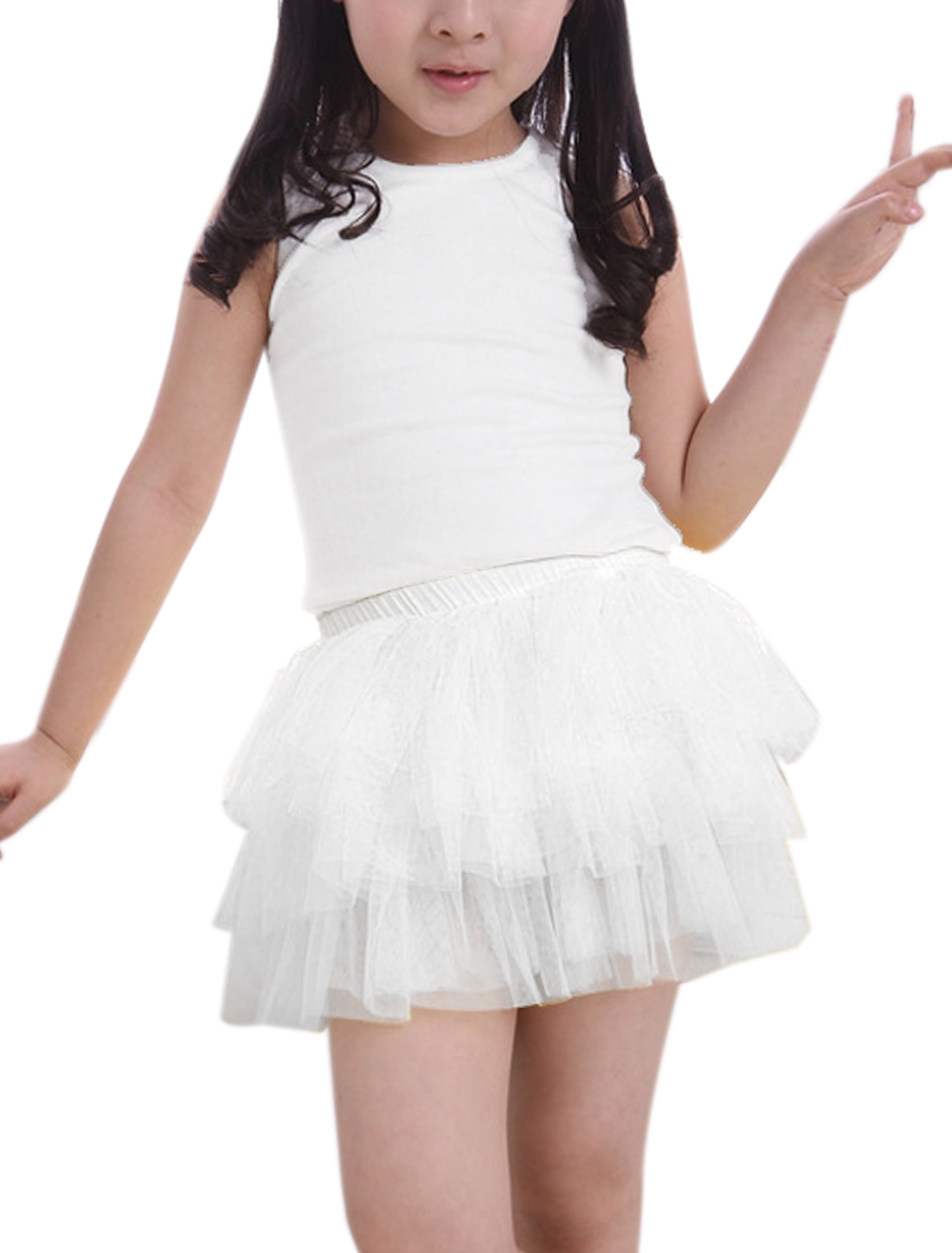 Girls Elastic Waist Mesh Panel Tiered A-Line Skirt White 2T