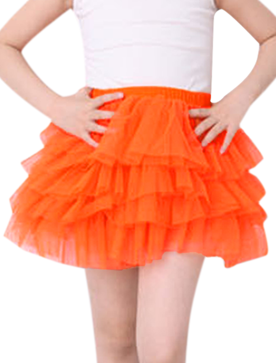 Girls Elastic Waist Mesh Panel Tiered A Line Skirt Orange 5