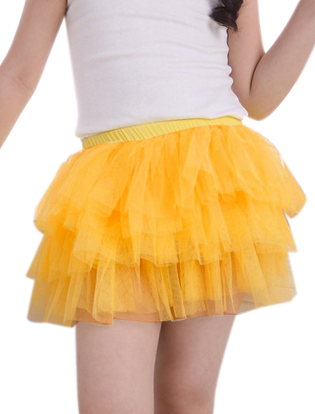 Girls Elastic Waist Mesh Panel Tiered A Line Skirt Yellow 6X
