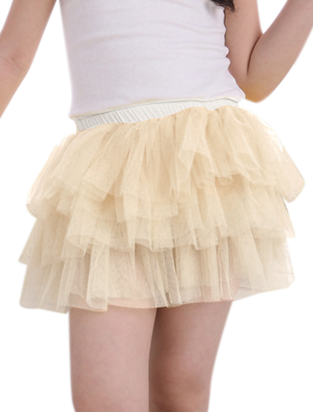 Girls Elastic Waist Mesh Panel Tiered A Line Skirt Beige 5