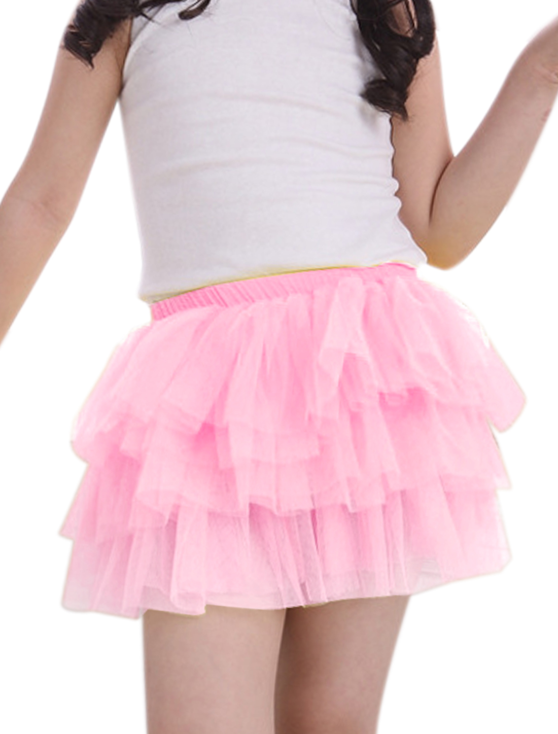 Girls Elastic Waist Mesh Panel Tiered A Line Skirt Pink 2T