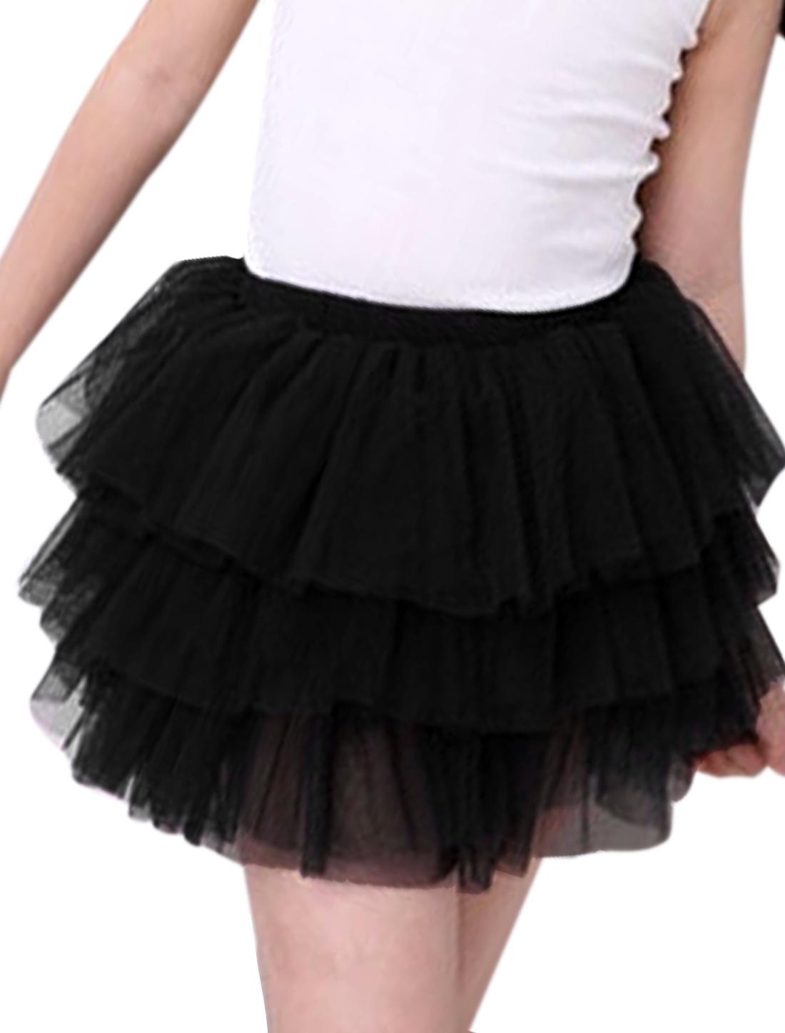 Girls Elastic Waist Mesh Panel Tiered A Line Skirt Black 6X