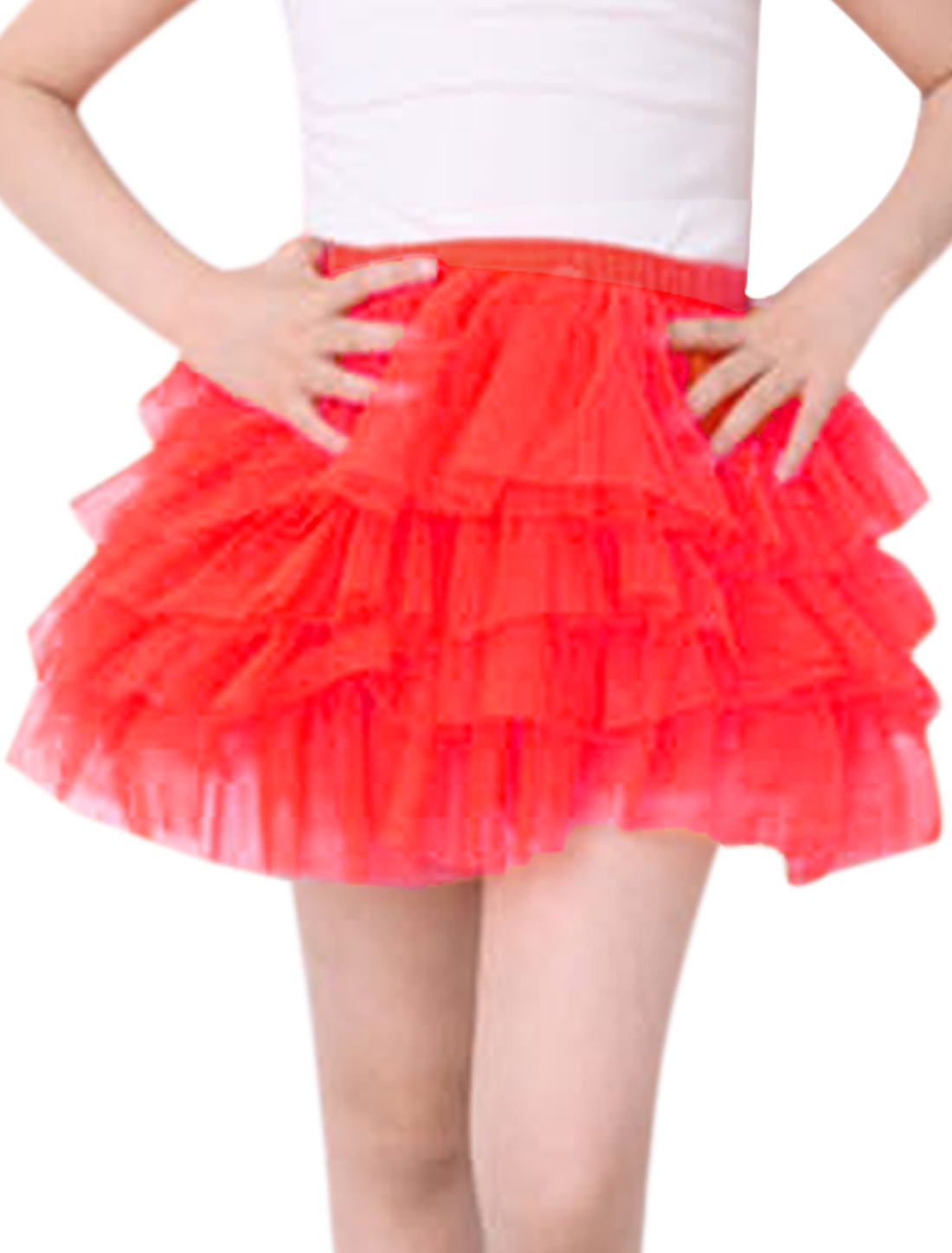 Girls Elastic Waist Mesh Panel Tiered A Line Skirt Watermelon Red 5