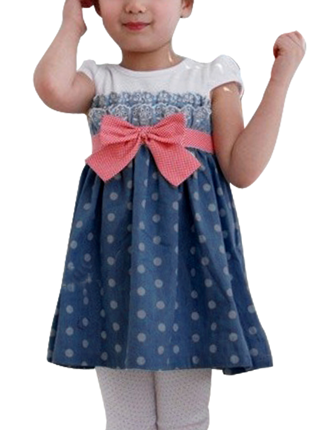 Girl NEW Round Neck Cap Sleeve Dots Pattern Splice Blue Denim Dress 4