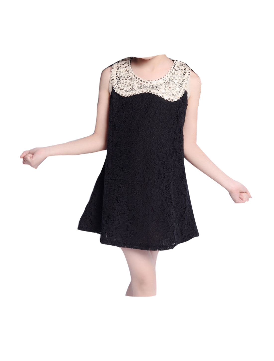 Girls Sequined Doll Collar Sleeveless Lace A Line Dress Black 4T