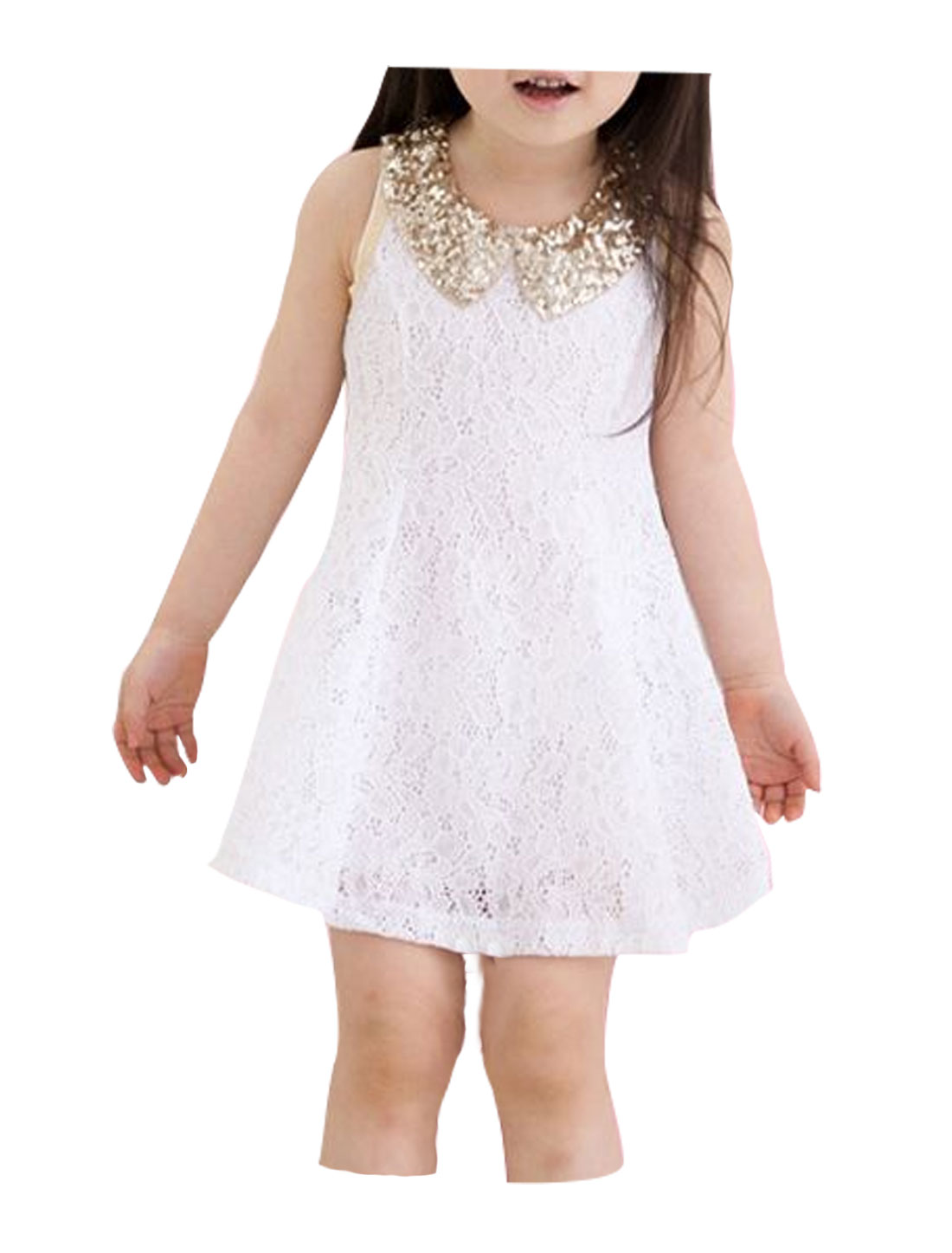 Girls Sequined Doll Collar Sleeveless Lace A Line Dress White 4