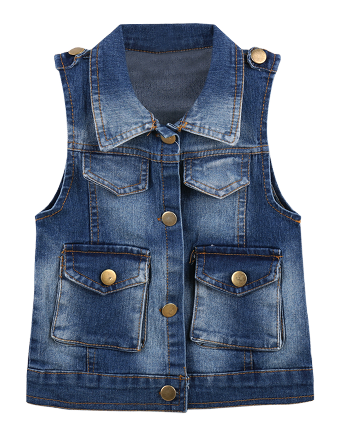 18 Months Navy Blue Front Button Closure Letters Print Boys Kids Denim Vest