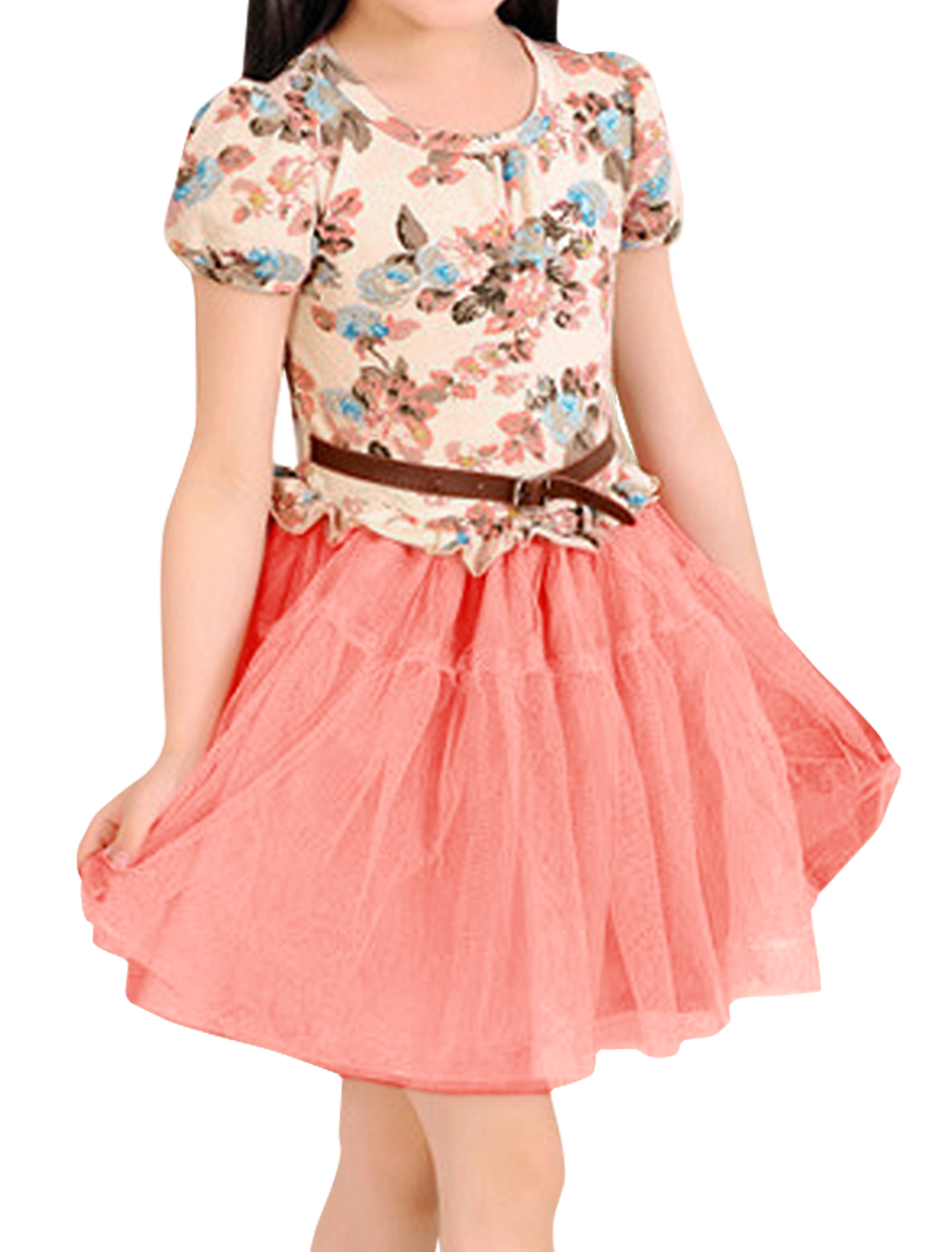 Girls Pretty Floral Pattern Upper Tiered Mesh Splice Pink Dress 3T