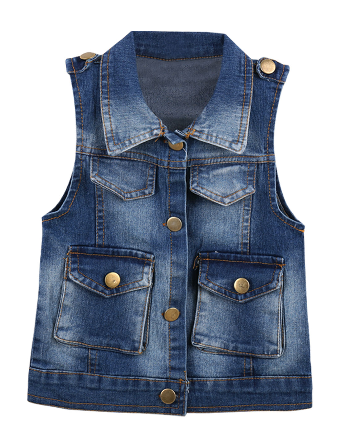 Kids 7 Navy Blue Point Collar Letters Pattern Button Front Denim Vest