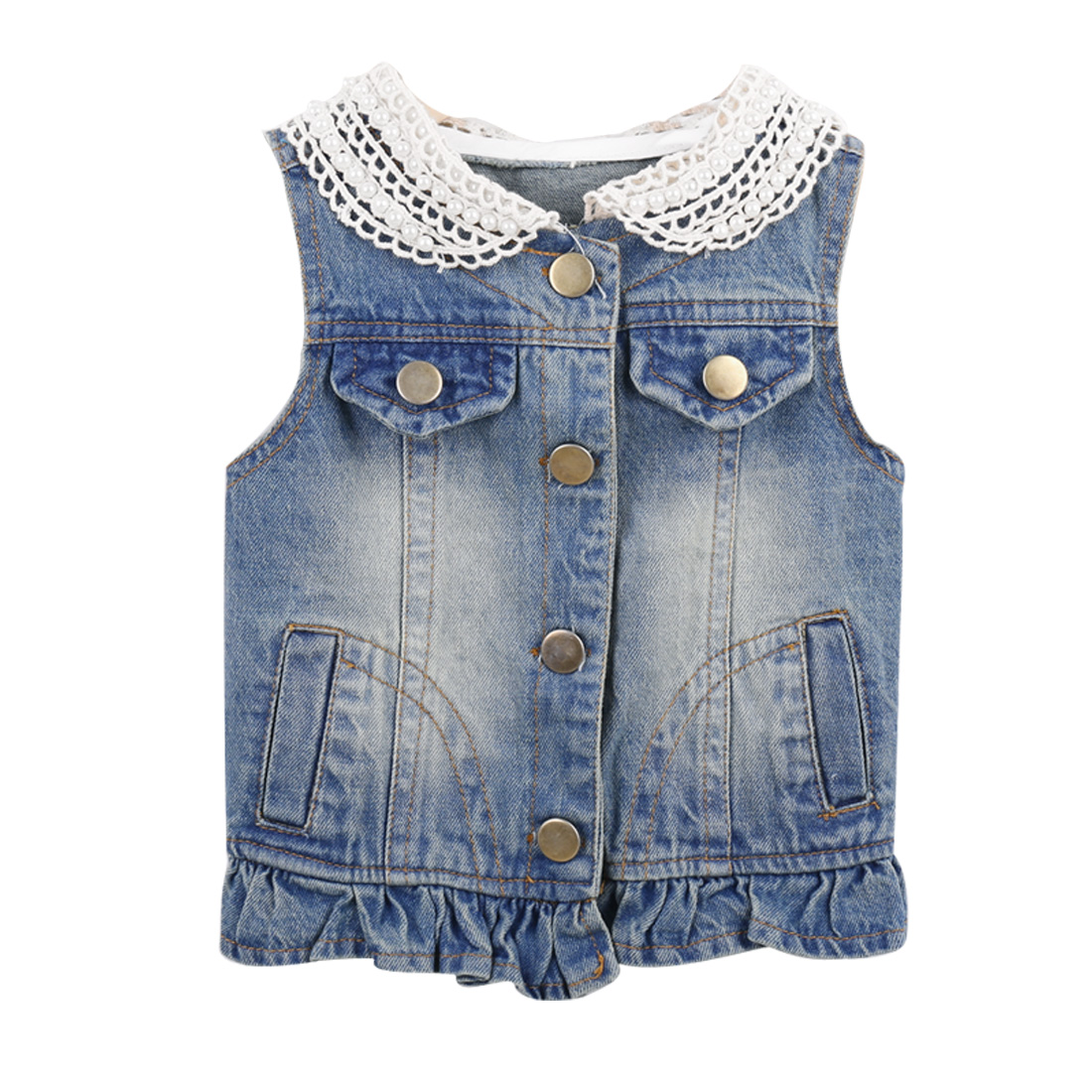 Girls Peter Pan Collar Buttoned Side Pockets Denim Blue 5 Vest Coat