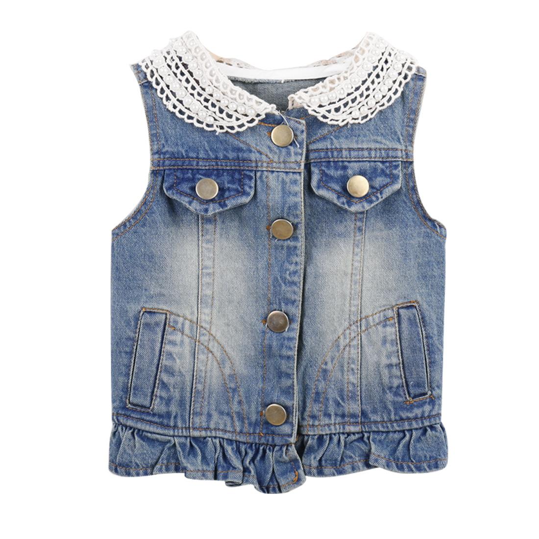 Girls Peter Pan Collar Sweet Floral Hem Buttoned 6 Blue Denim Vest