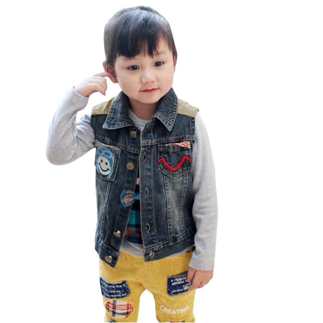 Child Point Collar Smile Face Pattern Letter Printed Panel Denim Blue Vest 6