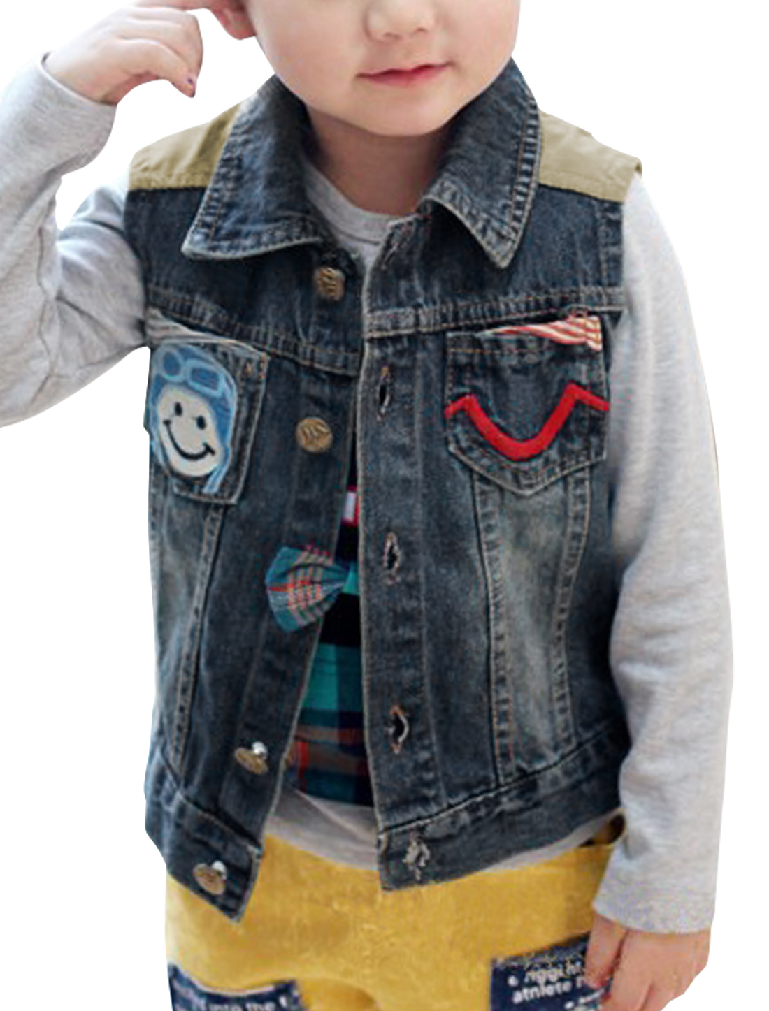 Child Stylish Smile Face Pattern Pocket Panel Design Denim Blue Vest 6X
