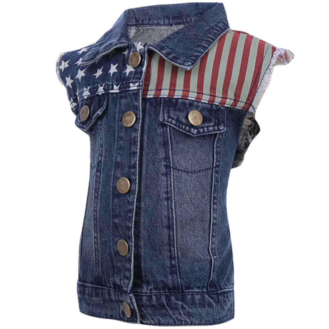 Boys Point Collar Button Closure Stars Striped Denim Vest Blue 4