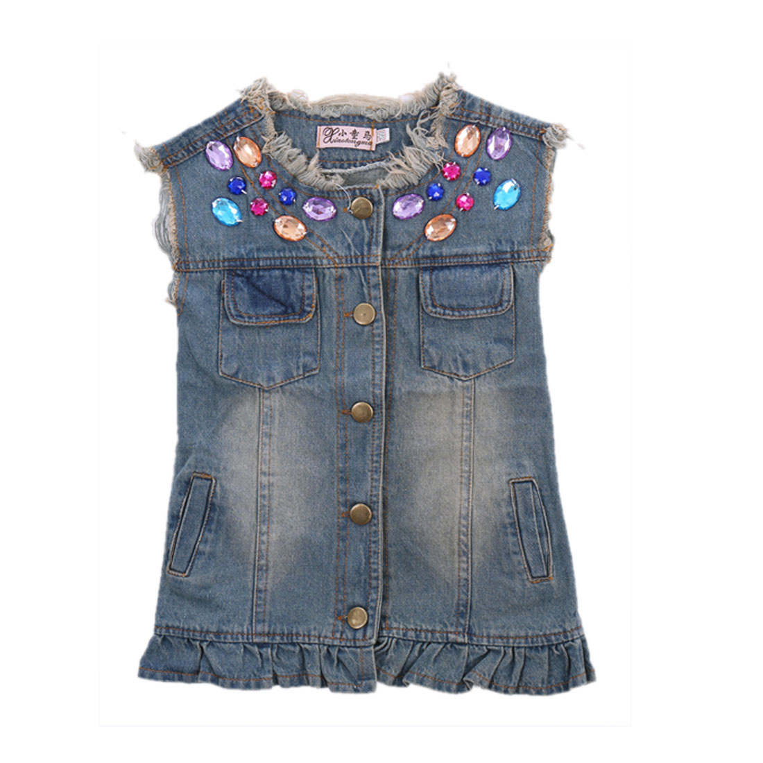 Girls Lovely Colorful Rhinestones Decor Fringe Hem Blue Denim Vest Coat 3T