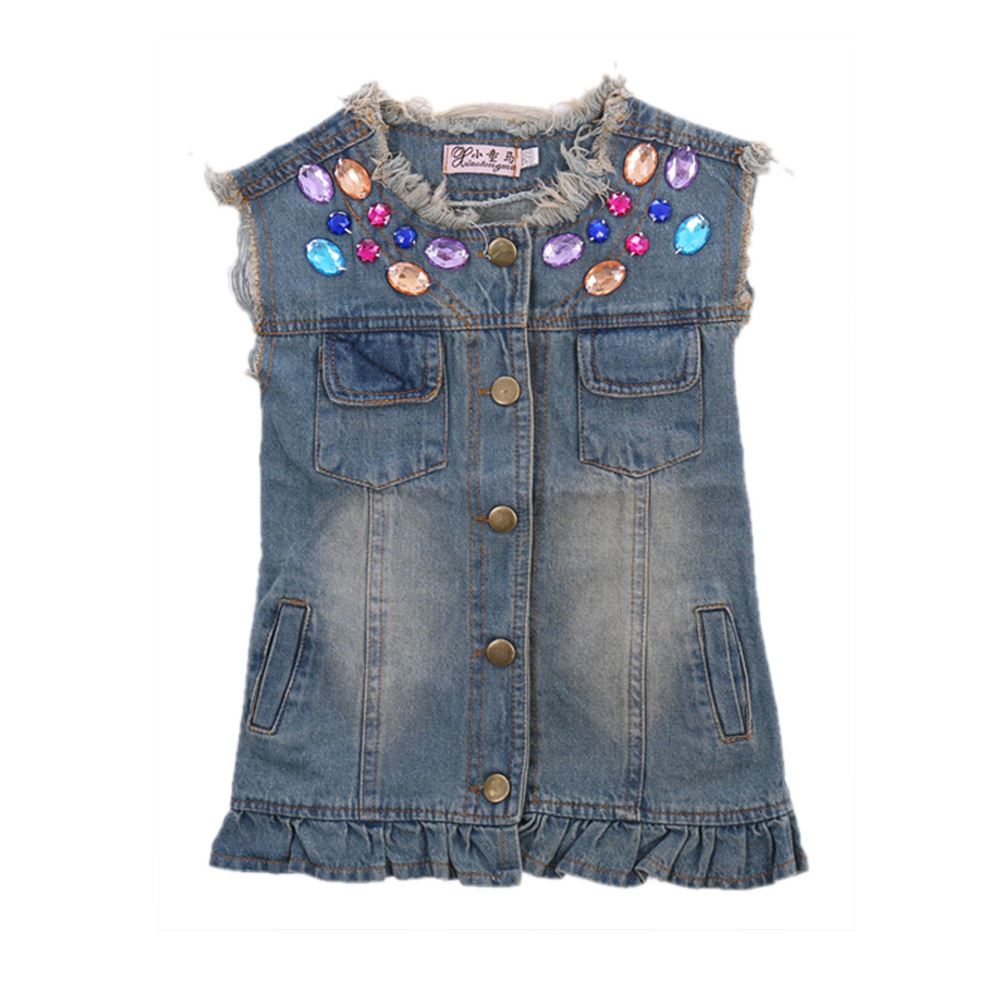 Lovely Rhinestones Decor Front Fringe Hem Blue Denim Vest Coat for Girl 4T