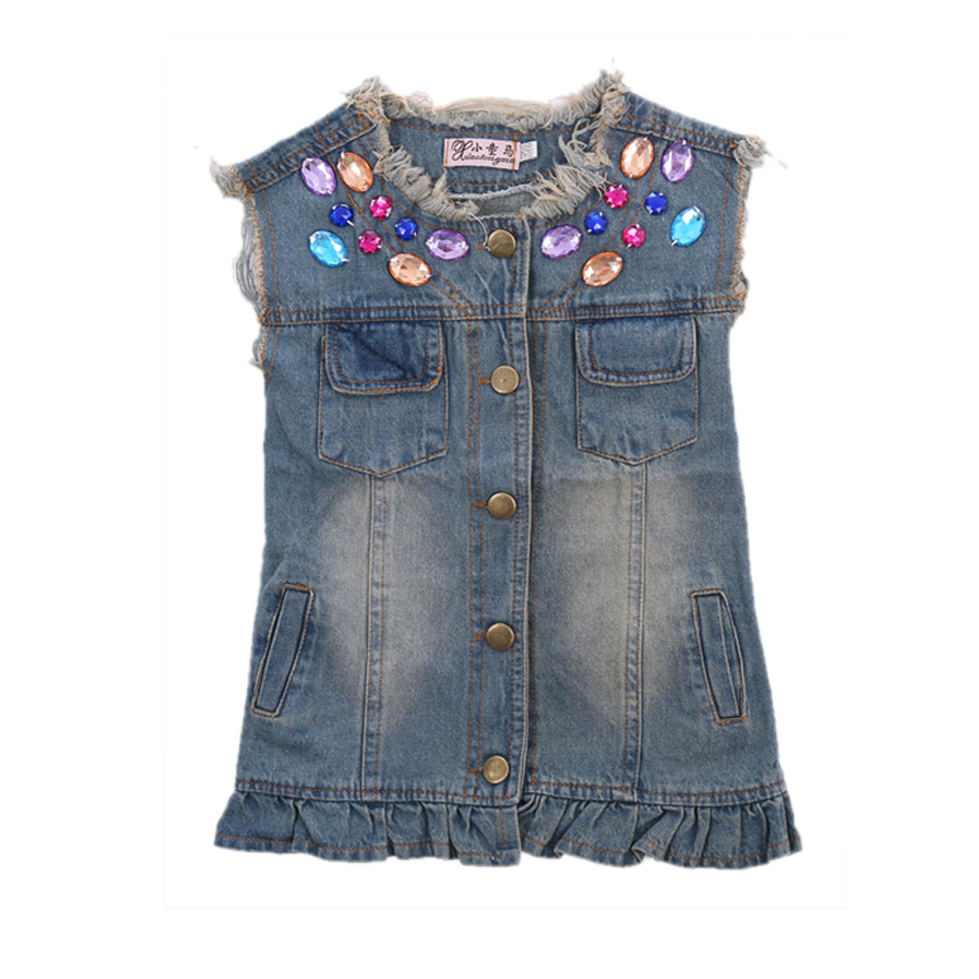 Stylish Girls Single-Breasted Front Rhinestones Decor Blue Denim Vest Coat 6