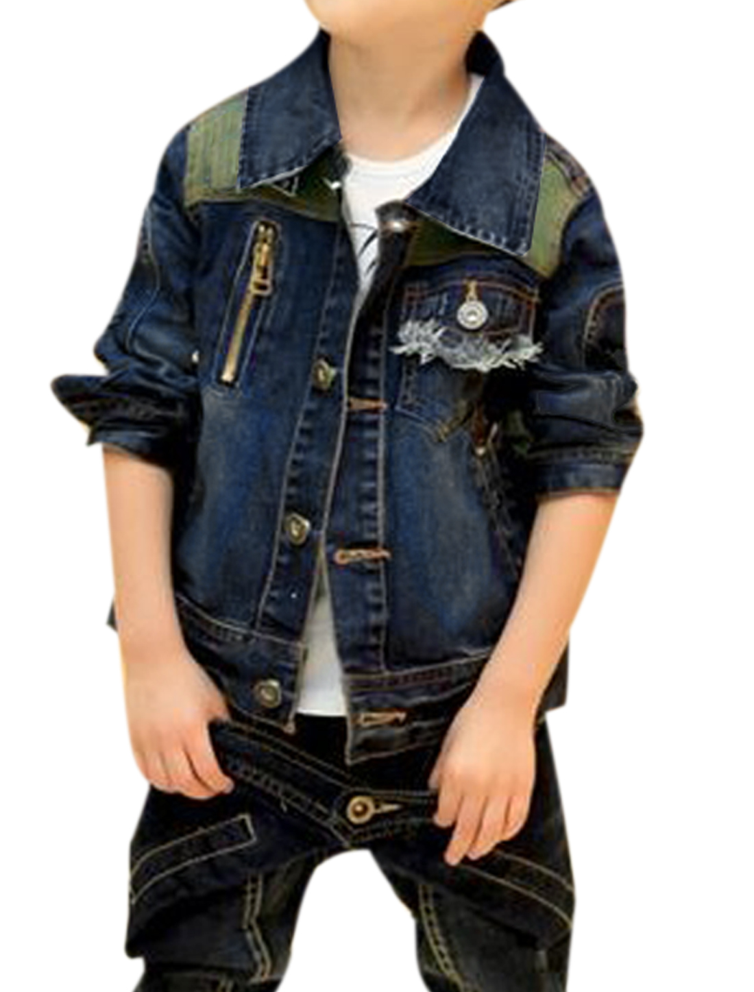 Boys Long Sleeved Destroyed Detail 3 Front Pockets Dark Blue Denim Coat Jacket 4