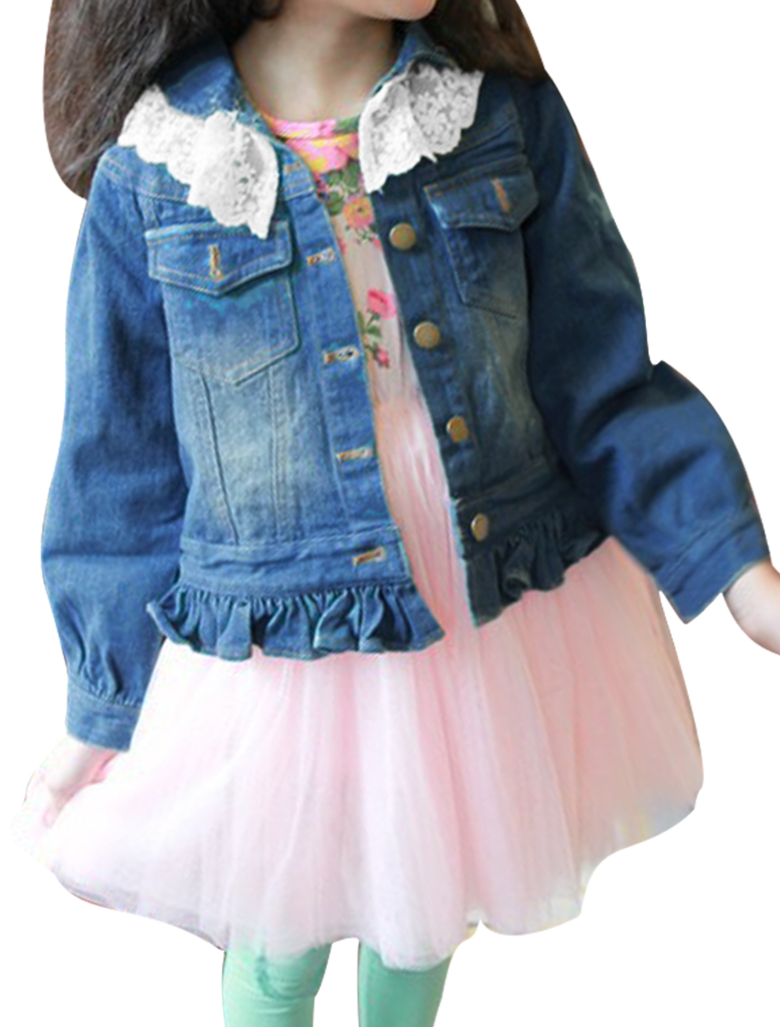 Girls Long Sleeve Single-Breasted Front Lace Panel Blue Denim Coat 6