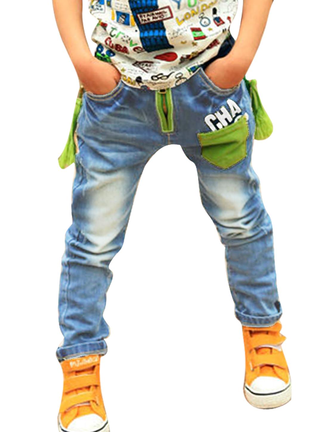 Boys Stylish Elastic Waist Zip Embellished Panel Straight Jeans Blue 3T