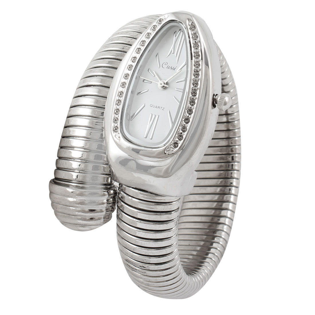 Silver Tone Stainless Steel Snake Shaped Quartz Wrist Bracelet Watch for Ladies