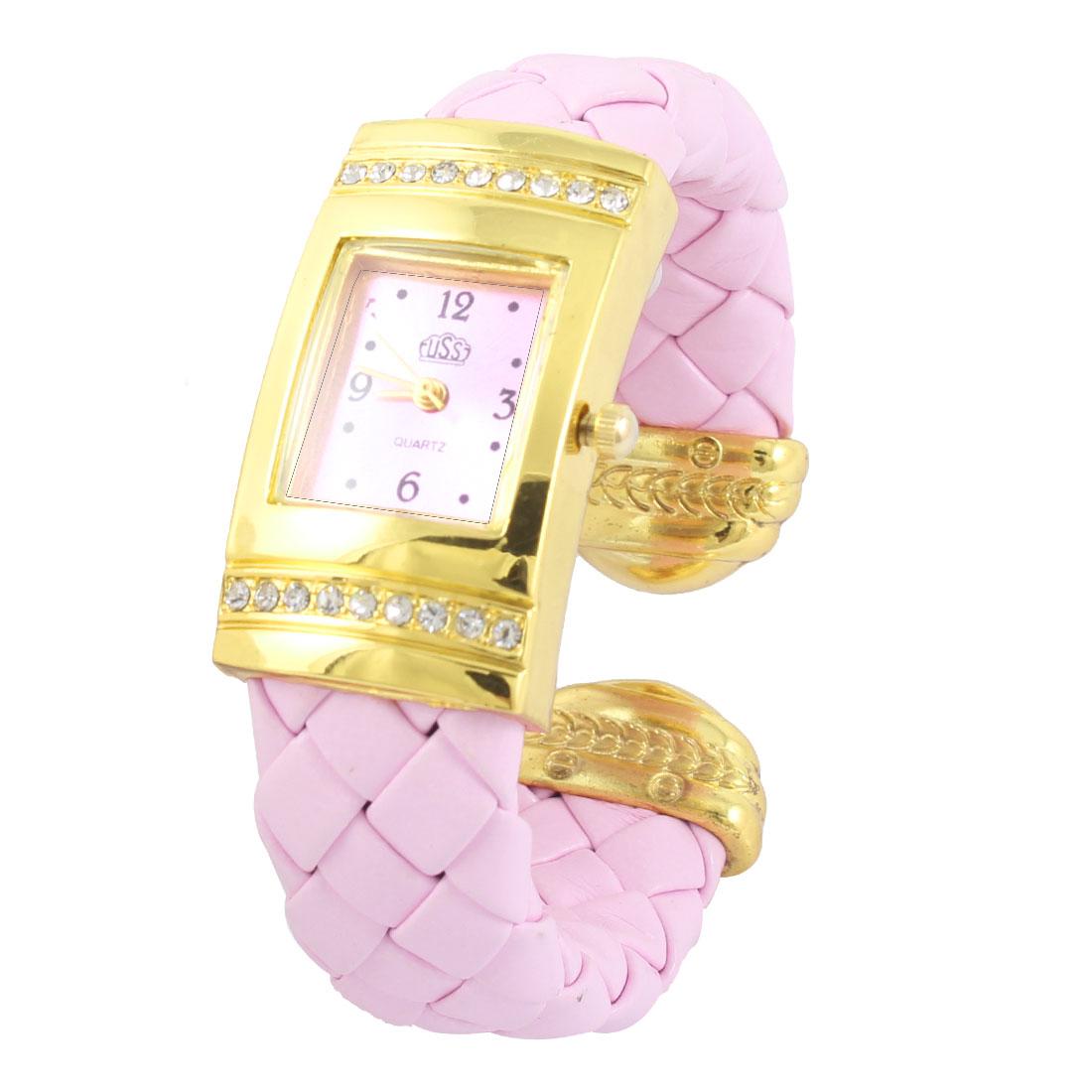 Ladies Pink Braided Band Rectangle Shaped Dial Quartz Bracelet Watch