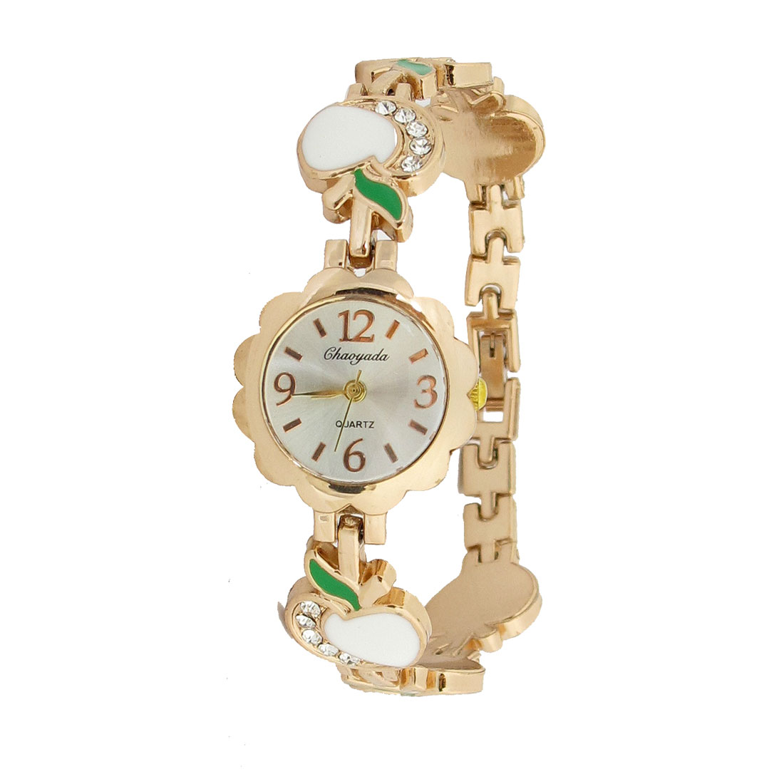 Lady White Green Apple Pattern Band Flower Shape Dial Case Bracelet Watch
