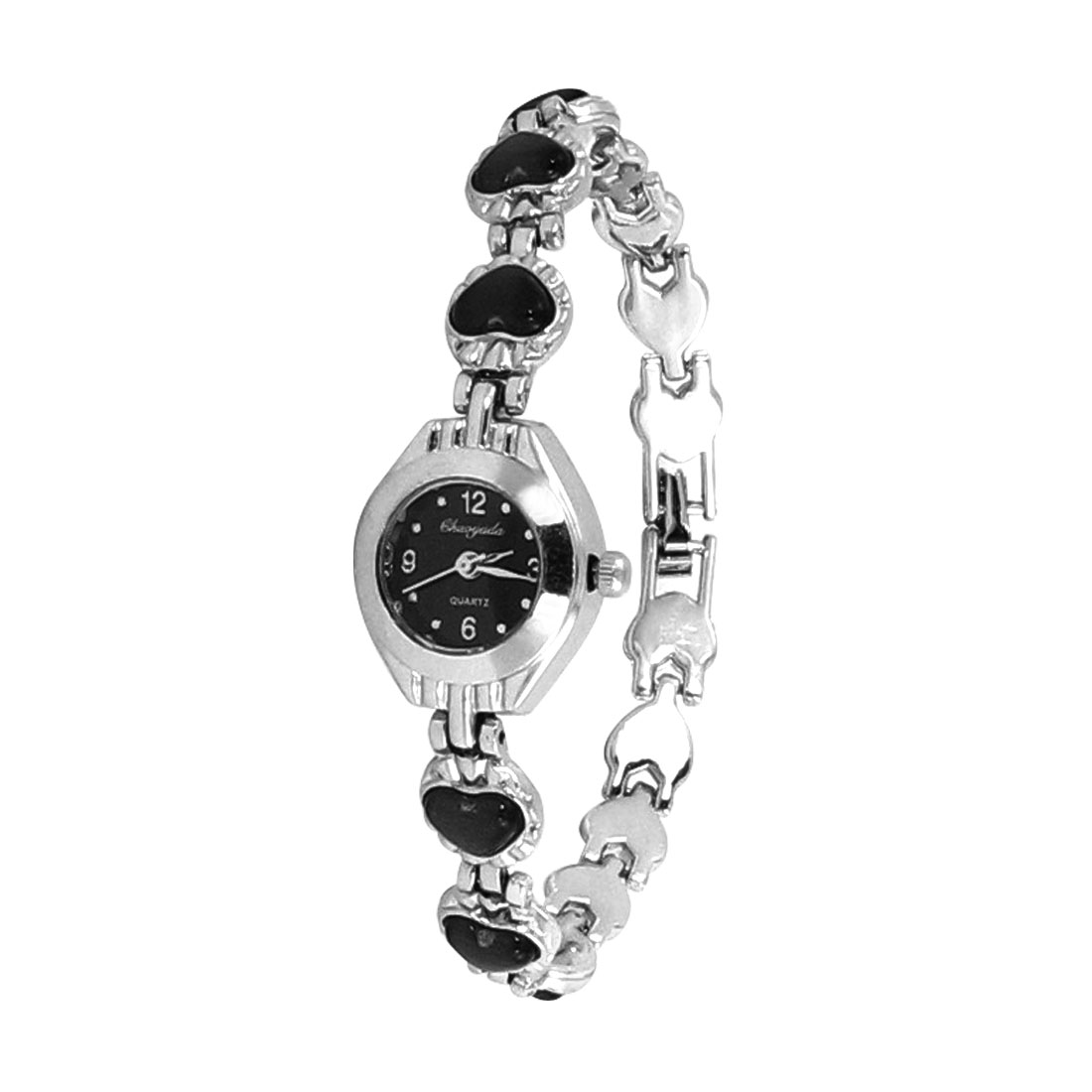 Black Round Dial Heart Pattern Accent Wristband Silver Tone Bracelet Watch