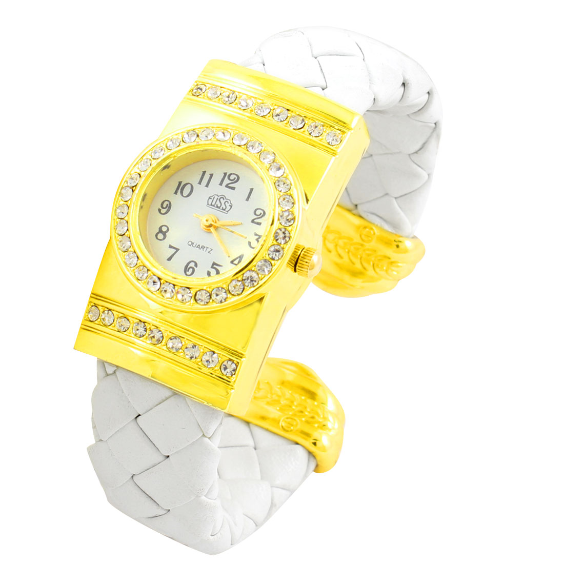 White Braided Faux Leather Band Round Shaped Dial Bracelet Watch for Lady