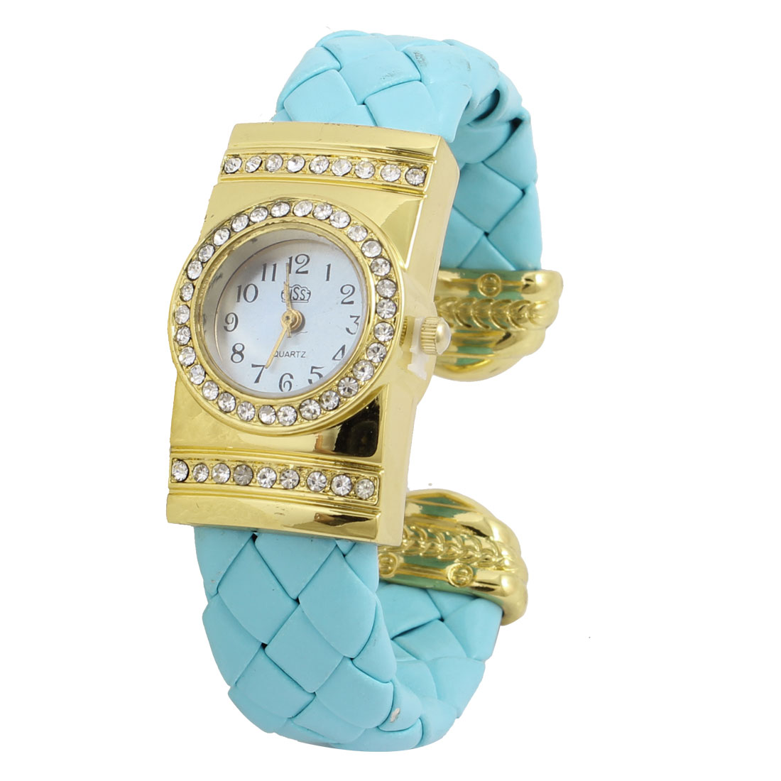 Blue Braided Faux Leather Band Round Shaped Dial Bracelet Watch for Lady