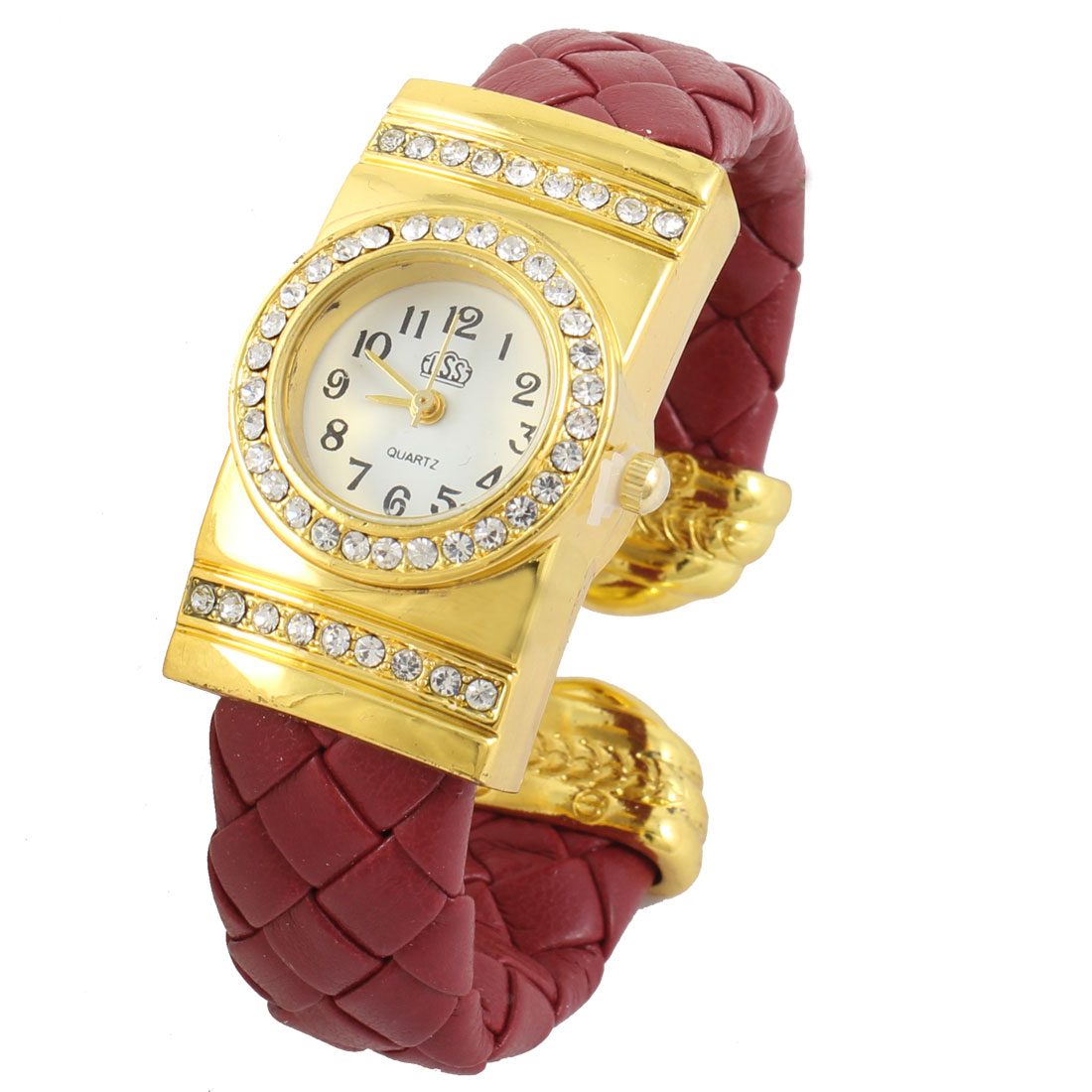 Ladies Dark Red Weaving Faux Leather Band Round Design Dial Bracelet Watch