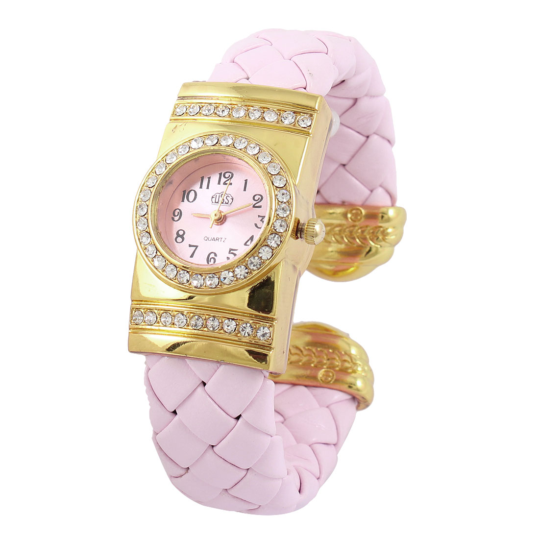 Pink Weaving Faux Leather Band Round Shaped Dial Bracelet Watch for Lady