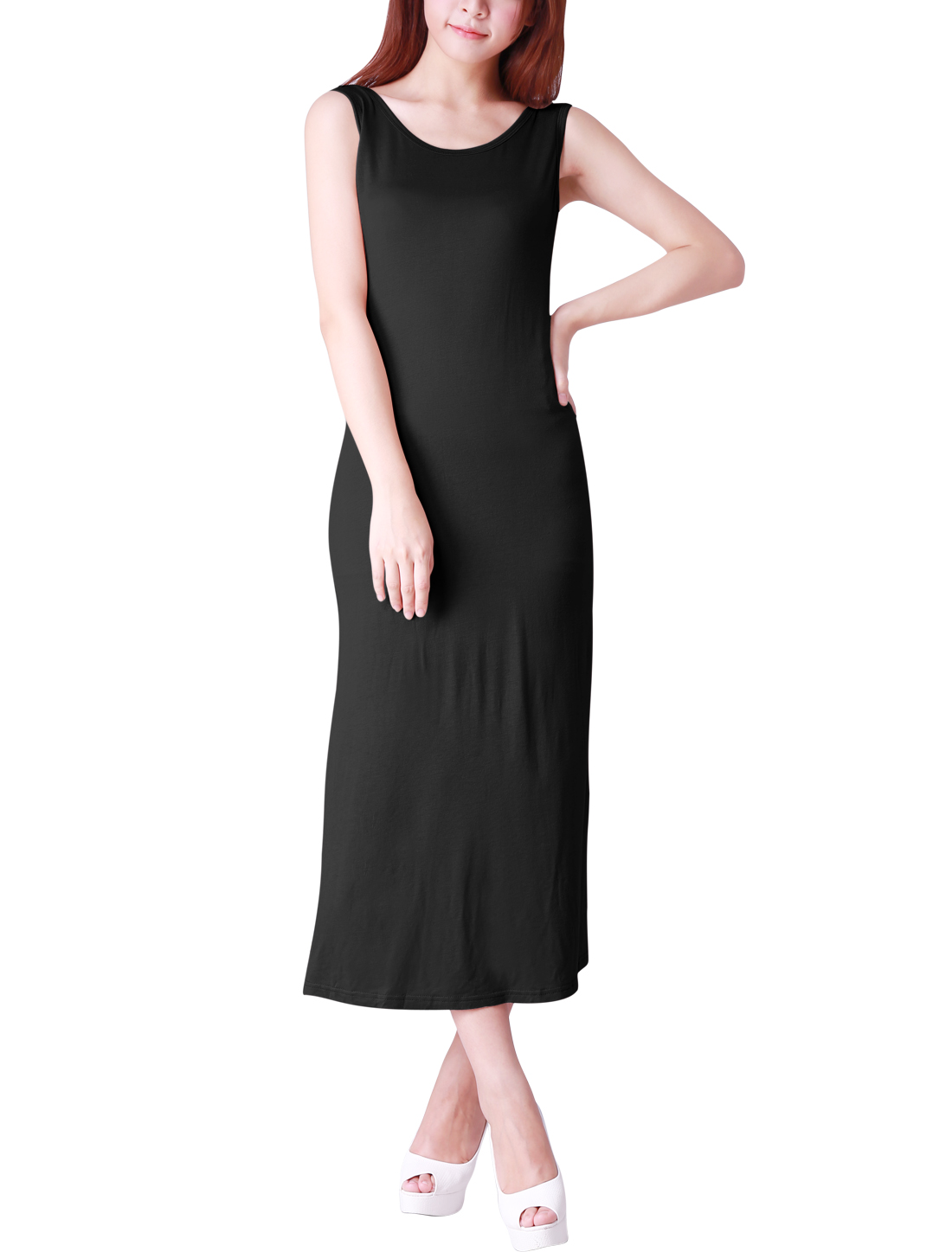 Stylish Pure Black Color Ladies Backless Full-Length Dress XL