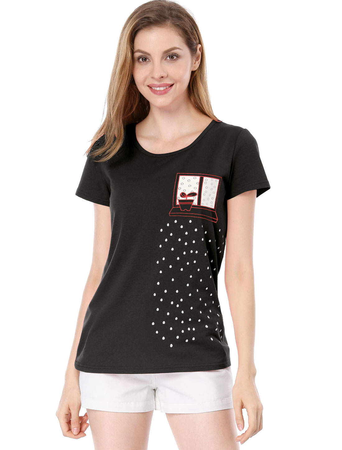 Pullover Short Sleeve Novelty Pattern Black T-Shirt M for Lady